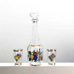 Other - Vintage Floral Decanter and Shot Glass Set
